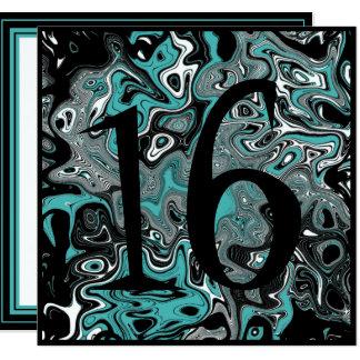 Teal & Black Grunge 16th Birthday Card