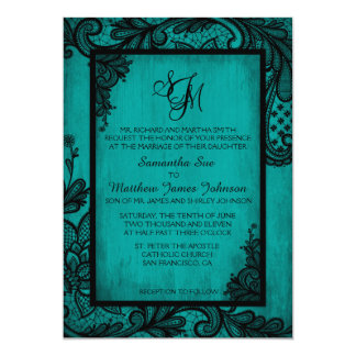 Teal Black Lace Gothic Wedding Invitation Card