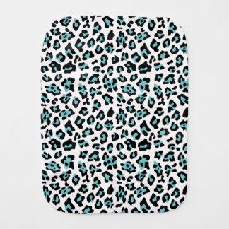 Teal Black Leopard Animal Print Pattern Burp Cloth