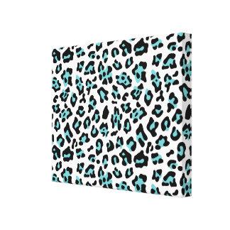 Teal Black Leopard Animal Print Pattern Gallery Wrap Canvas