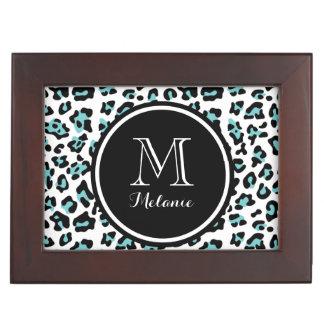 Teal Black Leopard Animal Print with Monogram Keepsake Box
