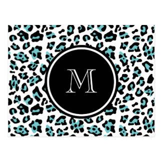 Teal Black Leopard Animal Print with Monogram Postcard