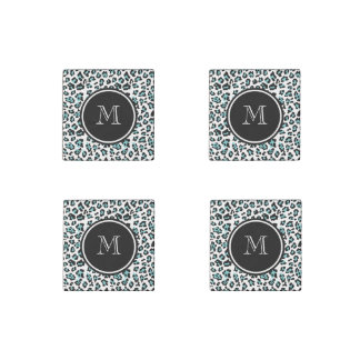 Teal Black Leopard Animal Print with Monogram Stone Magnet