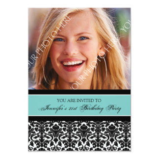Teal Black Photo 21st Birthday Party Invitations