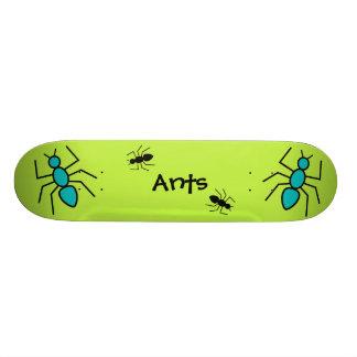 Teal & Black Vector Ants (Green Background) Skateboard Deck