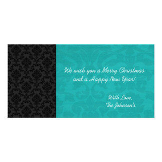 Teal & Black Vintage Christmas Photo Cards