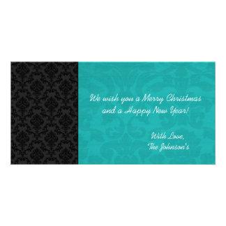 Teal & Black Vintage Christmas Photo Cards