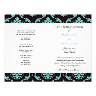 Teal Black Vintage Damask Wedding Program Flyers