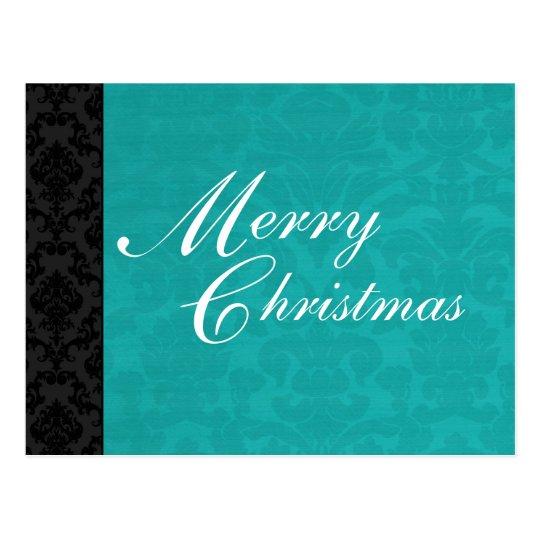 Teal & Black Vintage Holiday Post Card