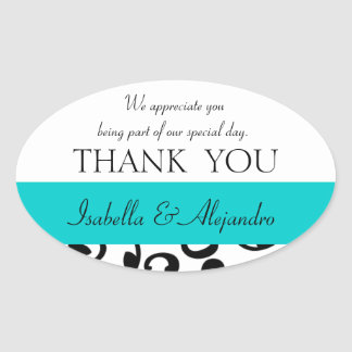 Teal, Black Wedding Favor Thank You Message Oval Stickers