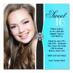 Teal Black White Photo Sweet 16 Birthday Party 13 Cm X 13 Cm Square Invitation Card