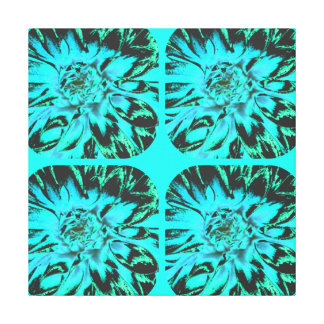 TEAL BLUE ABSTRACT DAHLIA FLORAL FLOWER GALLERY WRAP CANVAS