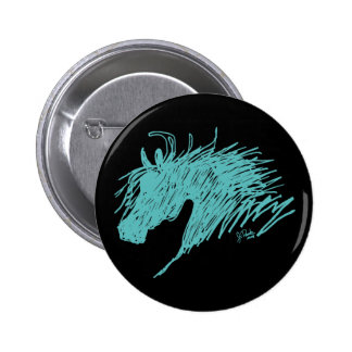 Teal Blue Abstract Horse Head art 6 Cm Round Badge