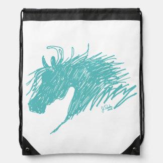 Teal Blue Abstract Horse Head art Rucksack