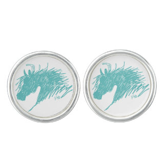 Teal Blue Abstract Horse Head art Cuff Links