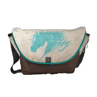 Teal Blue Abstract Horse Head art Messenger Bags