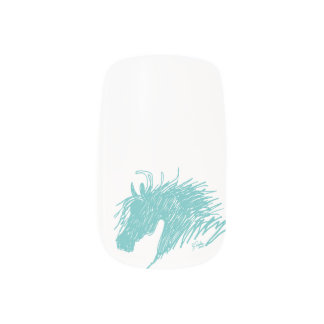 Teal Blue Abstract Horse Head art Nails Sticker