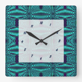 Teal Blue abstract pattern Square Wall Clock