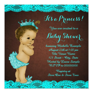 Teal Blue African American Baby Shower Personalized Announcement