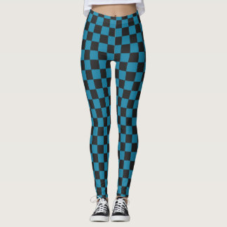 Teal Blue and Black Checkerboard Pattern Leggings