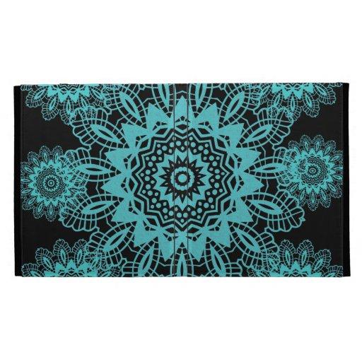 Teal Blue and Black Doily Lace Snowflake Mandala iPad Cases