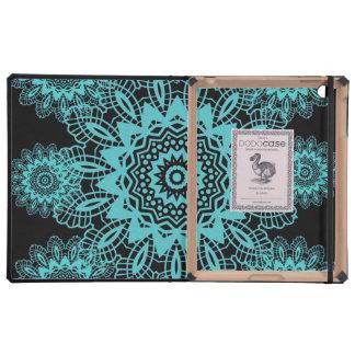 Teal Blue and Black Doily Lace Snowflake Mandala iPad Covers