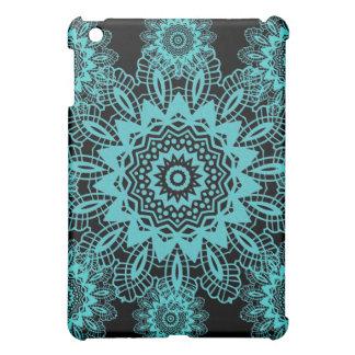 Teal Blue and Black Doily Lace Snowflake Mandala Cover For The iPad Mini