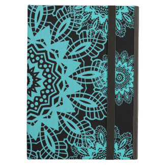 Teal Blue and Black Doily Lace Snowflake Mandala iPad Air Covers