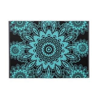 Teal Blue and Black Doily Lace Snowflake Mandala Cover For iPad Mini