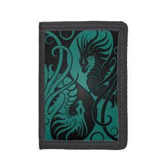 Teal Blue and Black Flying Yin Yang Dragons Tri-fold Wallet
