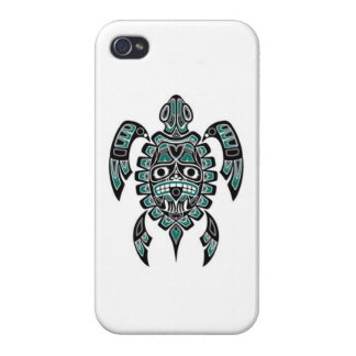 Teal Blue and Black Haida Spirit Sea Turtle iPhone 4/4S Cover