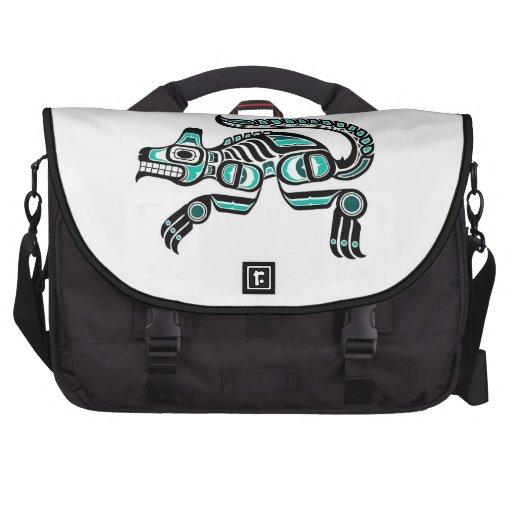 Teal Blue and Black Haida Spirit Wolf Computer Bag