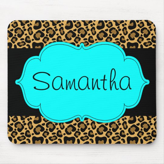 Teal Blue and Black Leopard Personalised Mouse Mat