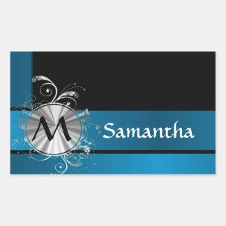 Teal blue and black monogram rectangular sticker