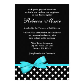 Teal Blue and Black Polka Dots Bow Bat Mitzvah 13 Cm X 18 Cm Invitation Card