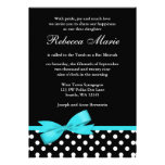 Teal Blue and Black Polka Dots Bow Bat Mitzvah Personalised Invites