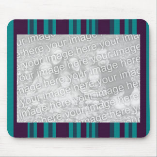 Teal blue and black stripes mouse mats