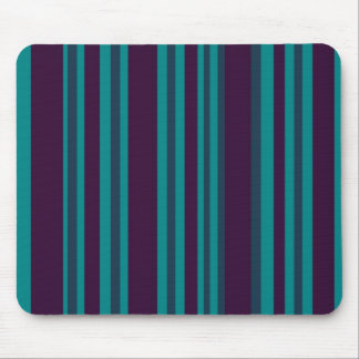 Teal blue and black stripes mouse pad