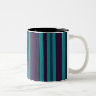 Teal blue and black stripes Two-Tone mug