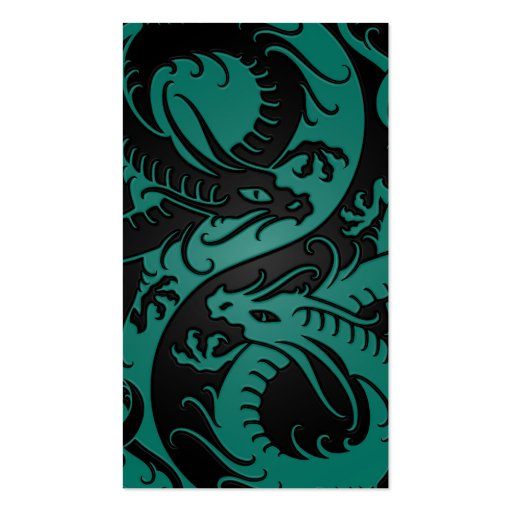 Teal Blue and Black Yin Yang Chinese Dragons Business Card
