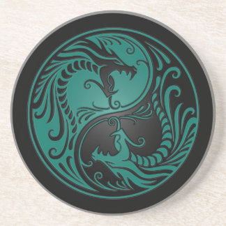 Teal Blue and Black Yin Yang Dragons Coaster