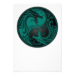Teal Blue and Black Yin Yang Dragons Personalised Announcements
