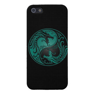 Teal Blue and Black Yin Yang Dragons iPhone 5 Cover