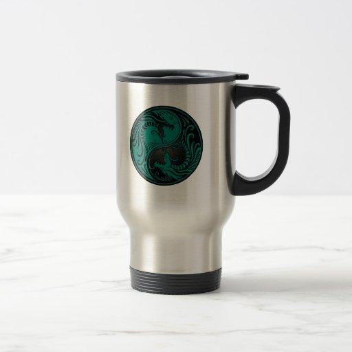 Teal Blue and Black Yin Yang Dragons Coffee Mug