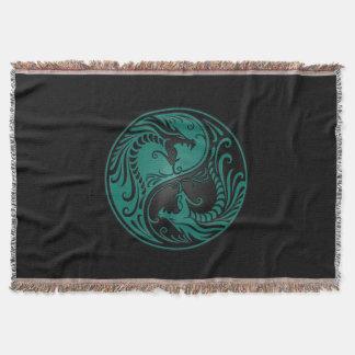 Teal Blue and Black Yin Yang Dragons Throw Blanket