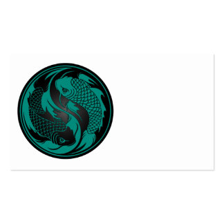 Teal Blue and Black Yin Yang Koi Fish Business Card Template