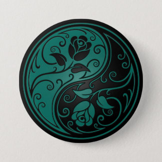 Teal Blue and Black Yin Yang Roses 7.5 Cm Round Badge