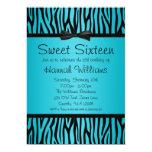 Teal Blue and Black Zebra Bow Sweet 16 Birthday Personalised Invitation
