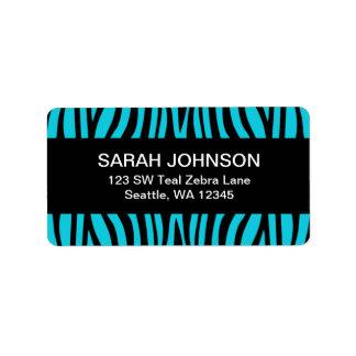 Teal Blue and Black Zebra Return Address Label