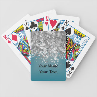 Teal blue and faux glitter bicycle playing cards